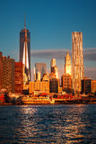 Lower Manhattan skyline along the East River Royalty Free Stock Images