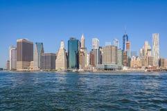Lower Manhattan Skyline from Brooklyn Bridge Park, NYC, USA Stock Photos