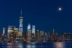 Lower Manhattan Skyline at blue hour. NYC, USA stock images