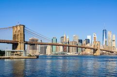 Lower Manhattan Skyline from Dumbo, NYC, USA. Lower Manhattan Skyline as seen from Dumbo in Brooklyn, New York City, USA Royalty Free Stock Photos
