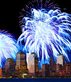 The Lower Manhattan skyline and fireworks Royalty Free Stock Photography