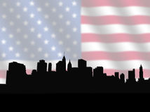 Lower Manhattan skyline with Flag Royalty Free Stock Photography