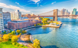 Lower Manhattan skyline from Manhattan Bridge on a beautiful day Royalty Free Stock Images