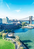 Lower Manhattan skyline from Manhattan Bridge on a beautiful day Royalty Free Stock Photography