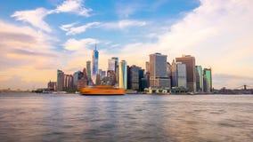 Lower Manhattan Skyline from New York Bay stock video footage
