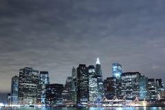 Lower Manhattan Skyline At Night Stock Images