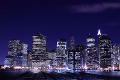 Lower Manhattan Skyline At Night Royalty Free Stock Photo