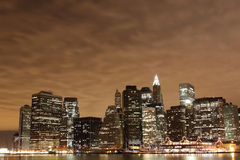 Lower Manhattan Skyline At Night Royalty Free Stock Image