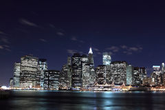 Lower Manhattan Skyline At Night Royalty Free Stock Images