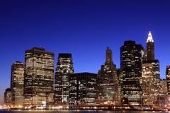 Lower Manhattan Skyline At Night Royalty Free Stock Photography