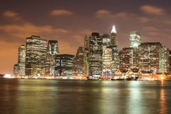 Lower Manhattan skyline At Night Stock Photography