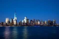 Lower Manhattan Skyline At Night Stock Image