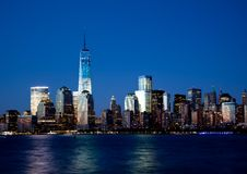 Lower Manhattan Skyline At Night Stock Images