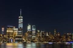 Lower Manhattan Skyline at night, NYC Royalty Free Stock Photo