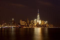 Lower Manhattan Skyline at Night Stock Photo