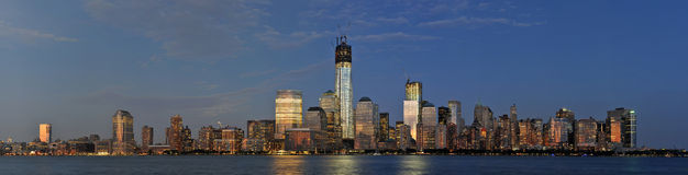 Lower Manhattan Skyline Panorama. With World Trade Center area under construction.  Tower 1 being the one standing out most Royalty Free Stock Image
