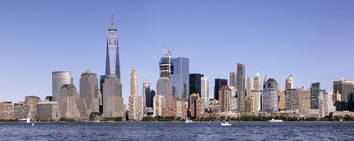 Lower Manhattan Skyline Panorama. The lower Manhattan skyline panorama, which includes the Freedom Tower.  This area is considered the financial capitol of Stock Photos