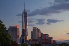 Lower Manhattan Skyline at Sunset Stock Photography