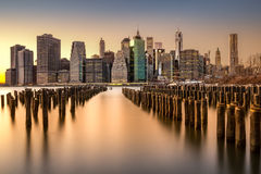 Lower Manhattan skyline at sunset Stock Images