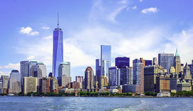 Lower Manhattan Skyline under bright blue sky Royalty Free Stock Photography