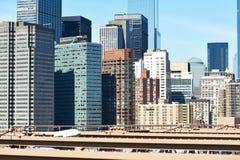 Lower Manhattan skyline view from Brooklyn Bridge Stock Photo
