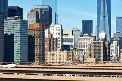 Lower Manhattan skyline view from Brooklyn Bridge Stock Image