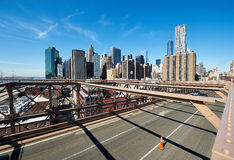 Lower Manhattan skyline view from Brooklyn Bridge Stock Images
