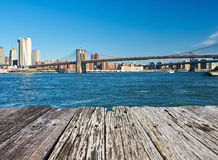 Lower Manhattan skyline view from Brooklyn Royalty Free Stock Image