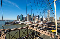 Lower Manhattan skyline view from Brooklyn Bridge Royalty Free Stock Photos