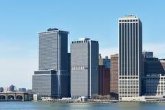 Lower Manhattan skyline view from Brooklyn Stock Image