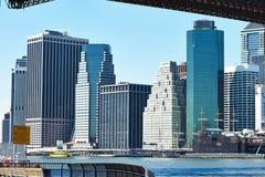 Lower Manhattan skyline view from Brooklyn Stock Photo
