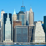 Lower Manhattan skyline view from Brooklyn Stock Images