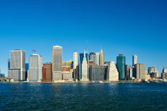 Lower Manhattan skyline view from Brooklyn Royalty Free Stock Photography