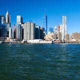 Lower Manhattan skyline view from Brooklyn Stock Photos