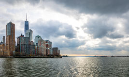 Lower Manhattan Skyline view from Pier 25 - New York, USA. Lower Manhattan Skyline view from Pier 25 in New York, USA Royalty Free Stock Images
