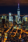 Lower Manhattan skyscrapers by night Royalty Free Stock Images