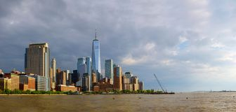 Lower Manhattan skyscrapers and One World Trade Center, New York City. New York City lower Manhattan skyscrapers and One World Trade Center Hudson River viewed royalty free stock images