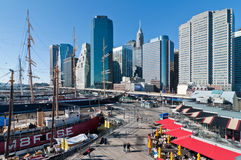 Lower Manhattan at South Street Seaport on a sunny day Royalty Free Stock Photos