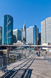 Lower Manhattan at South Street Seaport on a sunny day Stock Images