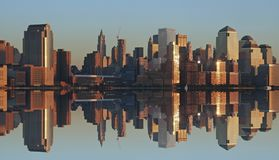 Lower Manhattan at sunset. Lower Manhattan and reflection at sunset Royalty Free Stock Photos
