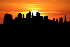 Lower Manhattan at sunset. Lower Manhattan skyline at sunset illustration Royalty Free Stock Images