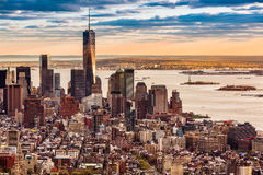Lower Manhattan at sunset Stock Image