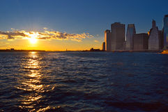 Lower Manhattan at sunset. Royalty Free Stock Photos