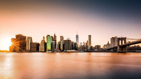 Lower Manhattan at sunset Royalty Free Stock Image