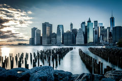 Lower Manhattan urban skyscrapers Royalty Free Stock Image