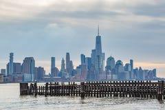 Lower Manhattan van Hoboken wordt bekeken die royalty-vrije stock fotografie