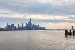 Lower Manhattan van Hoboken wordt bekeken die royalty-vrije stock afbeelding