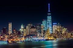 Lower Manhattan vid natt Arkivfoto