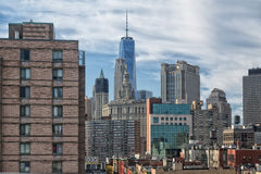 Lower Manhattan. View of Lower Manhattan from the Bridge Royalty Free Stock Photos