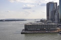 Lower Manhattan view from Brooklyn Bridge over East River from New York City in United States Stock Photo